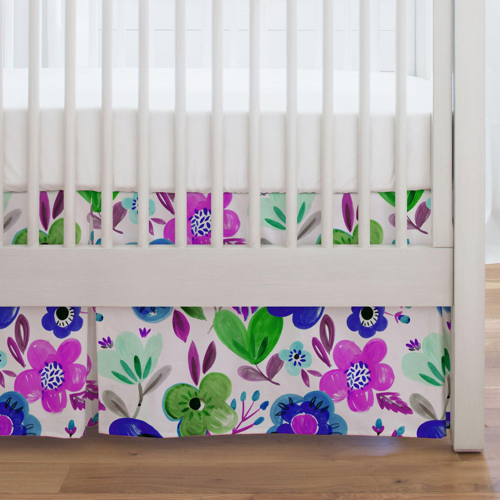 Product image for Purple Painted Flowers Crib Skirt Single-Pleat