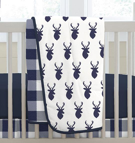 Product image for Windsor Navy Deer Head Crib Comforter with Piping