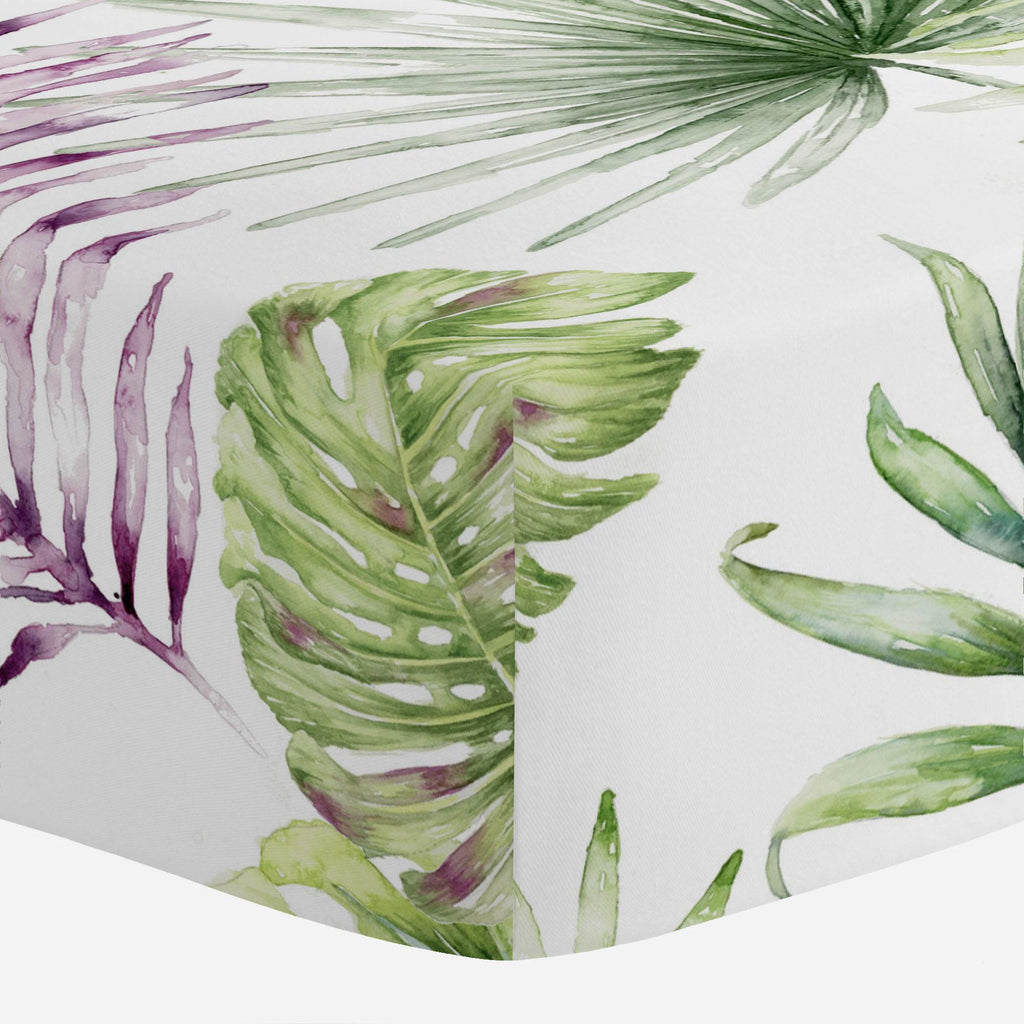 Product image for Purple Painted Tropical Crib Sheet