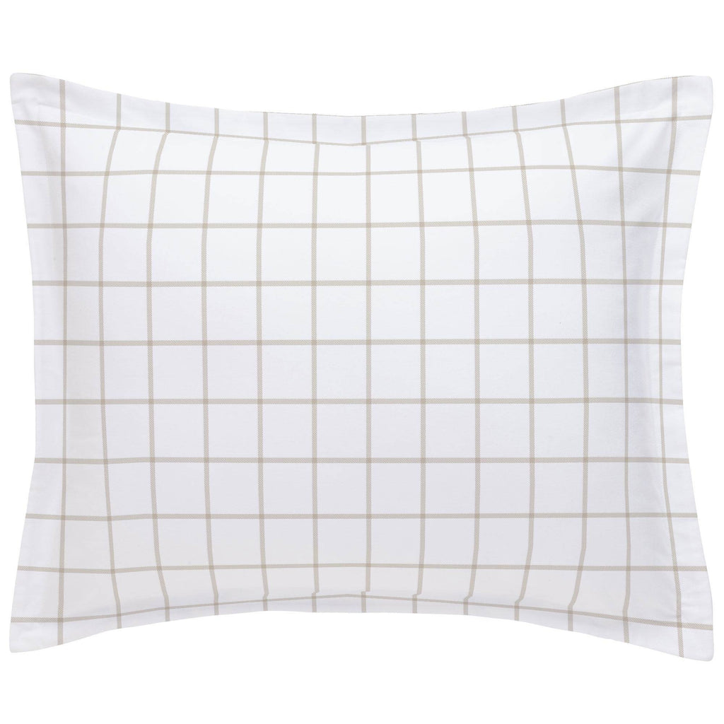 Product image for Taupe Windowpane Pillow Sham