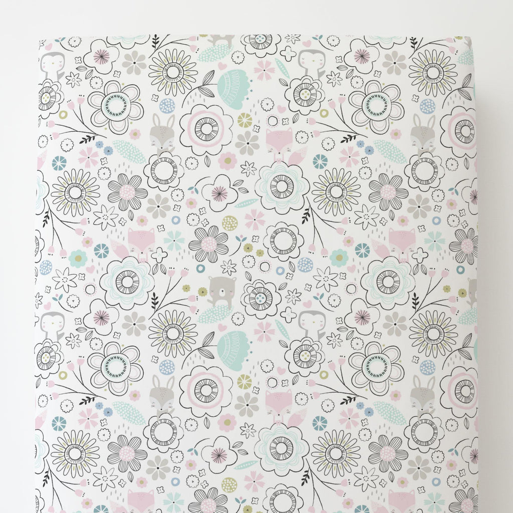 Product image for Pink Spring Doodles Toddler Sheet Bottom Fitted