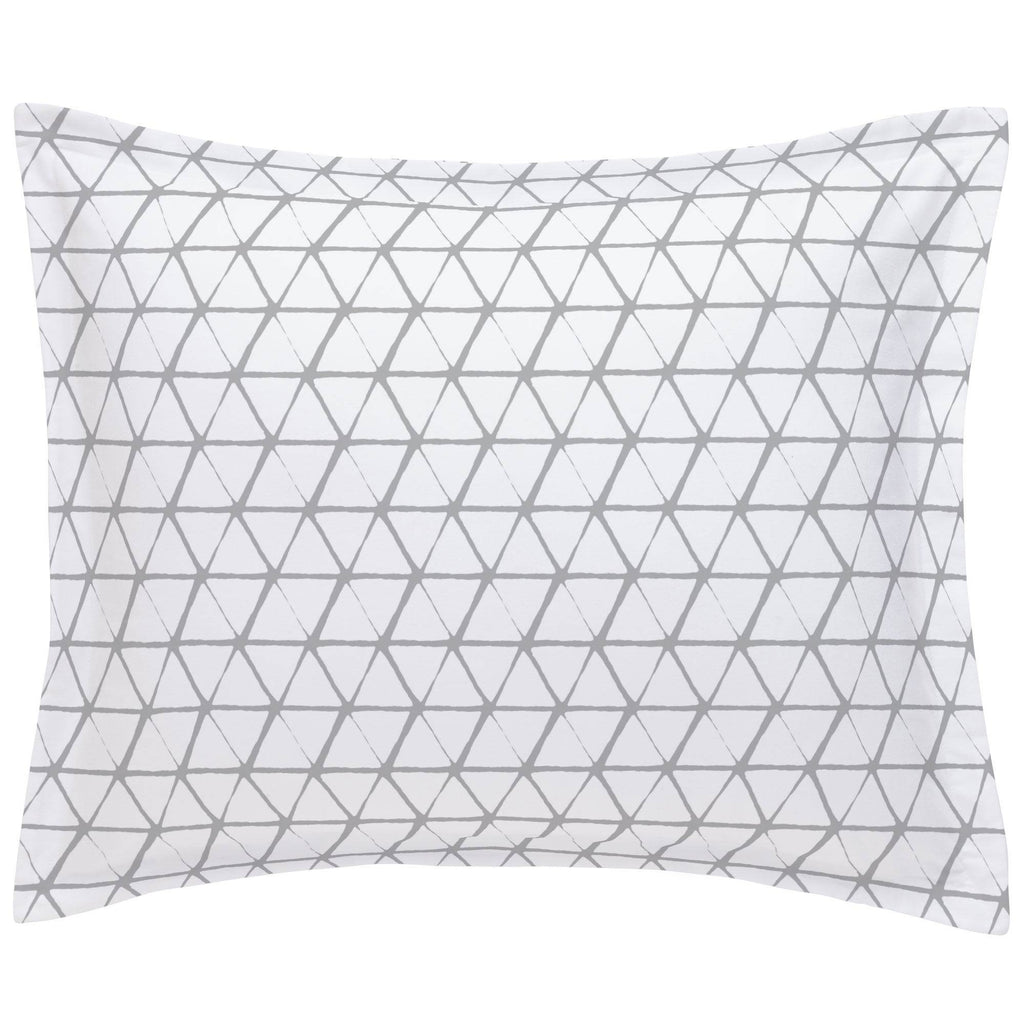 Product image for White and Silver Gray Aztec Triangles Pillow Sham