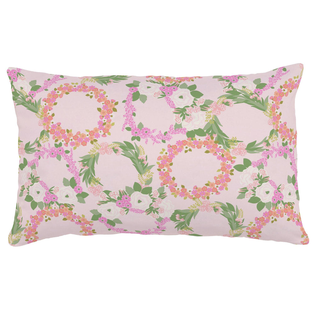 Product image for Pink and Coral Floral Wreath Lumbar Pillow