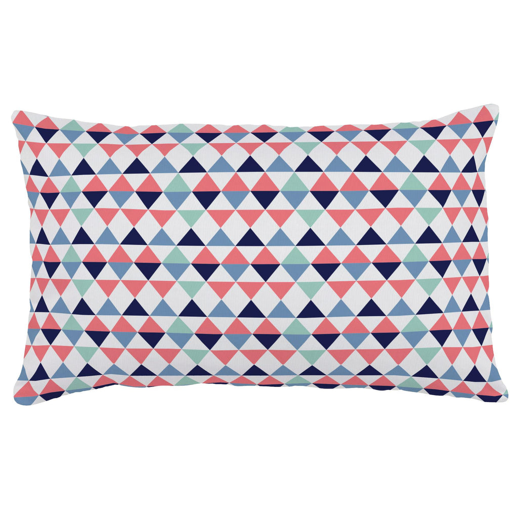 Product image for Coral and Mint Triangles Lumbar Pillow