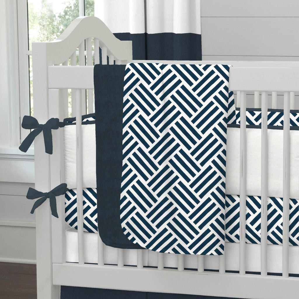 Product image for Navy Basketweave Baby Blanket