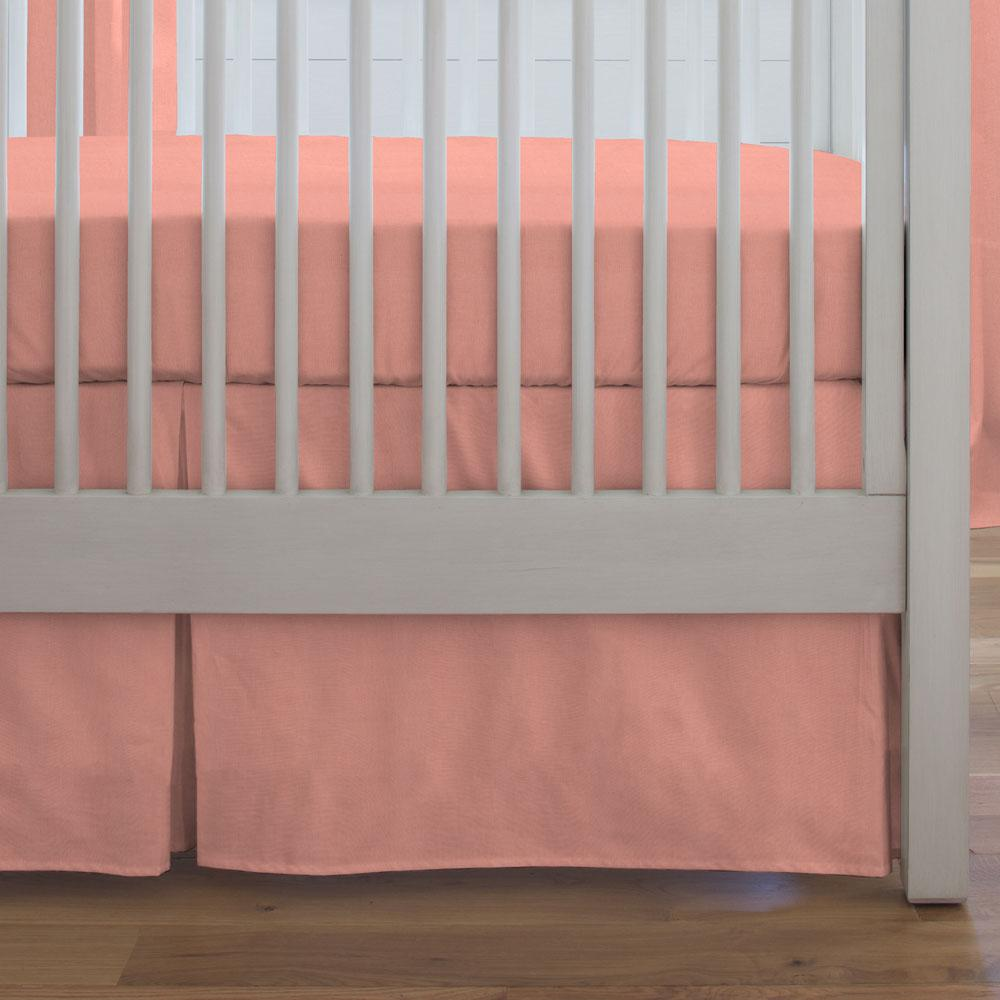 Product image for Solid Light Coral Crib Skirt