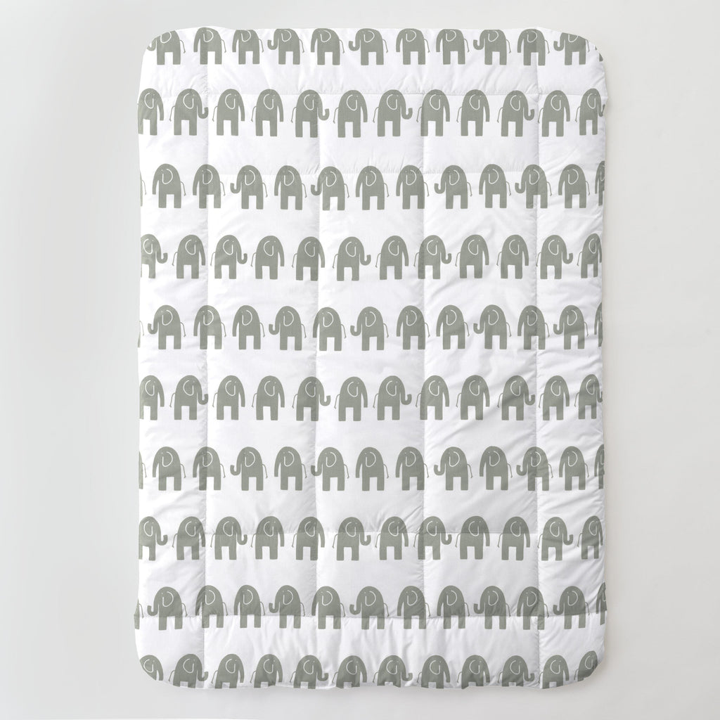 Product image for White and Gray Elephants Toddler Comforter
