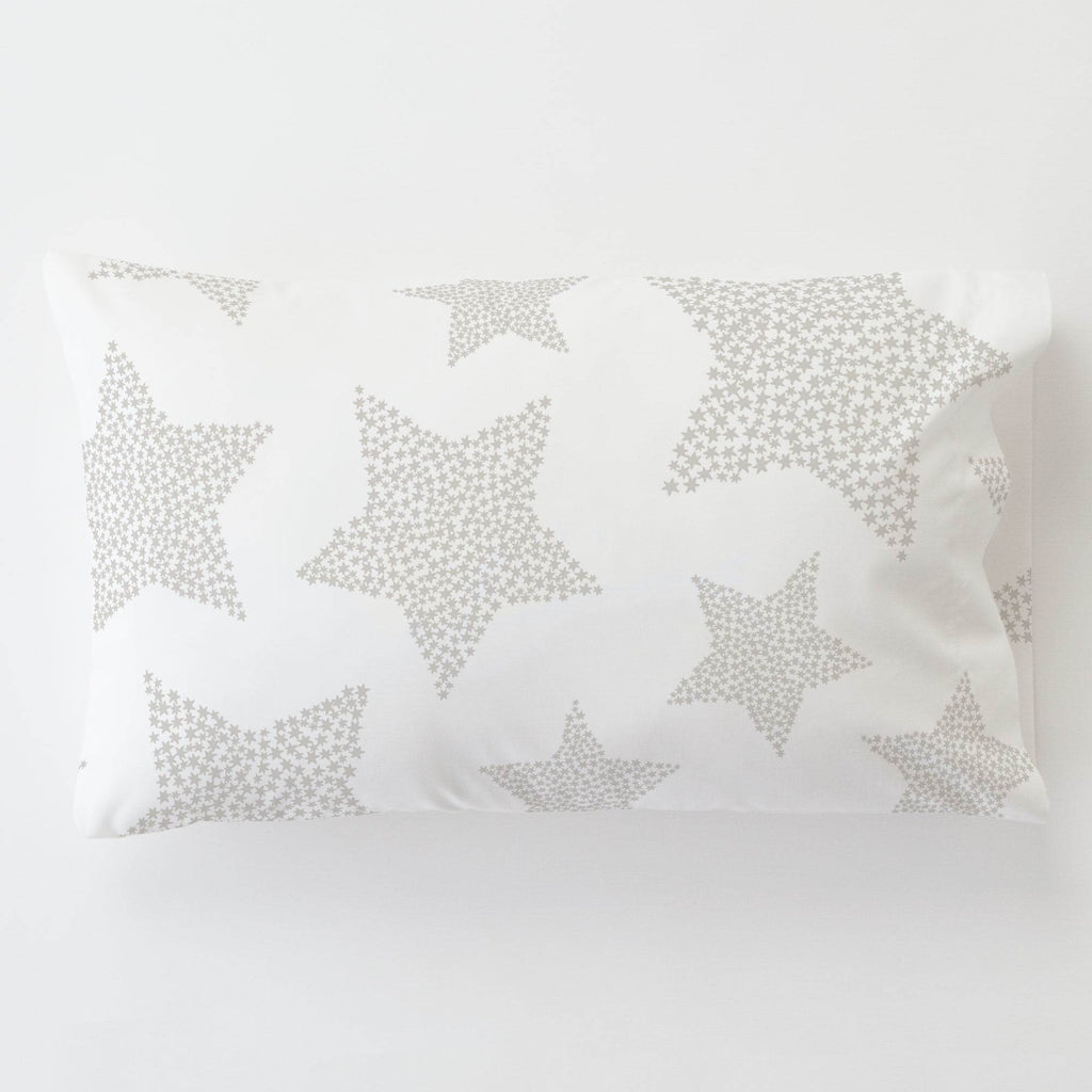 Product image for French Gray Galaxy Stars Toddler Pillow Case with Pillow Insert