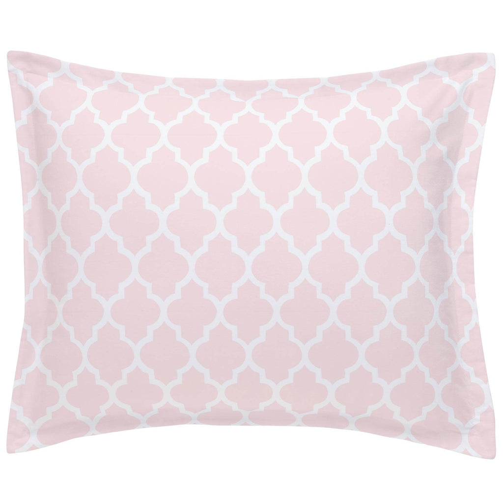 Product image for Blush Pink Hand Drawn Quatrefoil Pillow Sham
