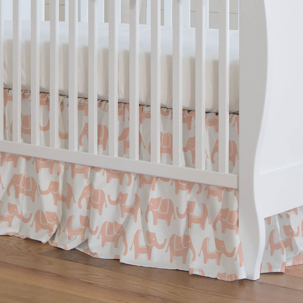 Product image for Peach Marching Elephants Crib Skirt Gathered