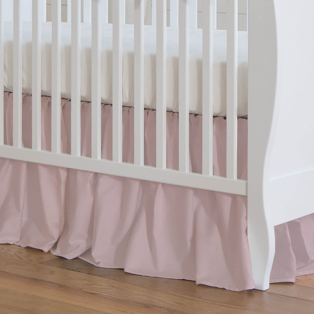 Product image for Pink Mini-Stripe Crib Skirt Gathered