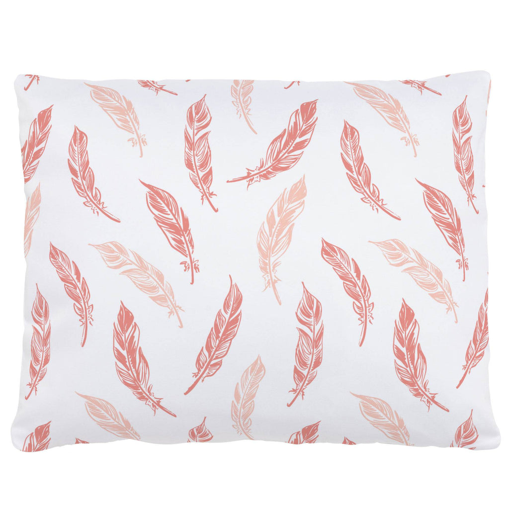 Product image for Light Coral and Peach Hand Drawn Feathers Accent Pillow