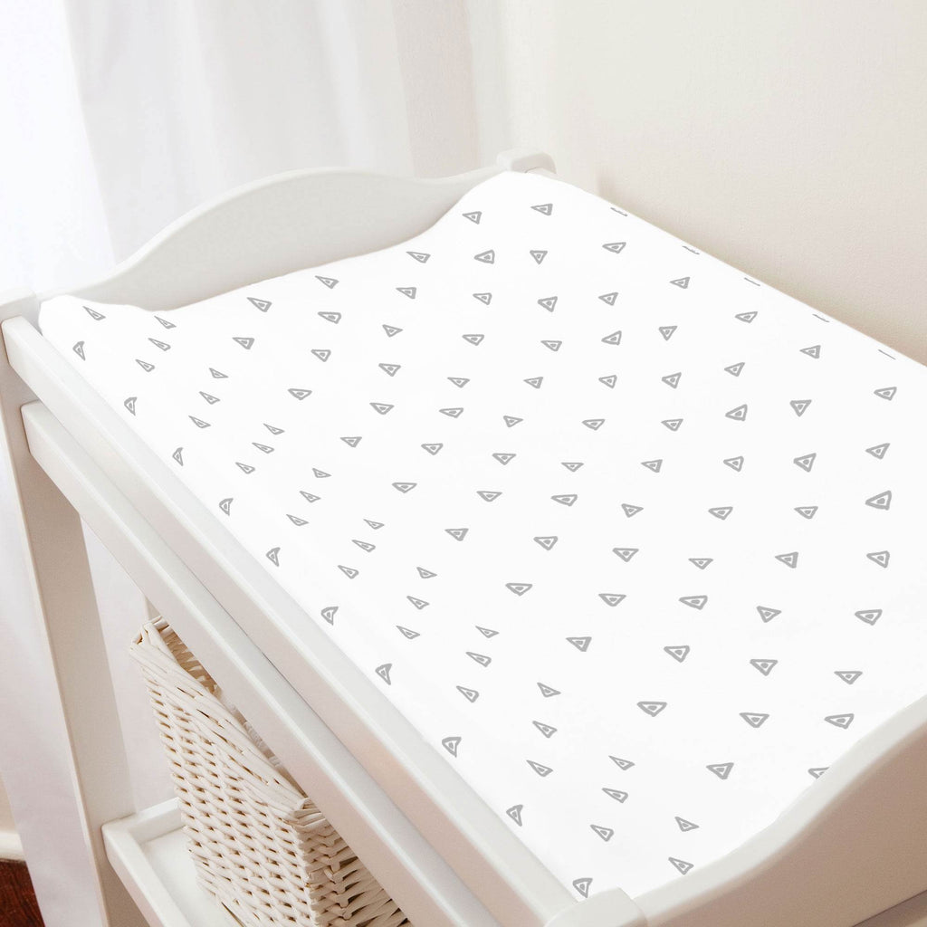Product image for Silver Gray Triangle Dots Changing Pad Cover