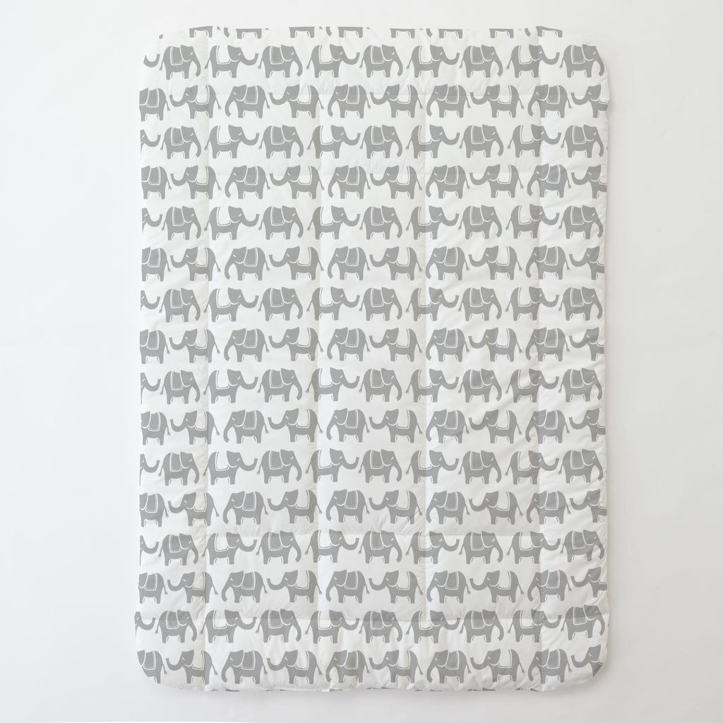 Product image for Silver Gray Marching Elephants Toddler Comforter