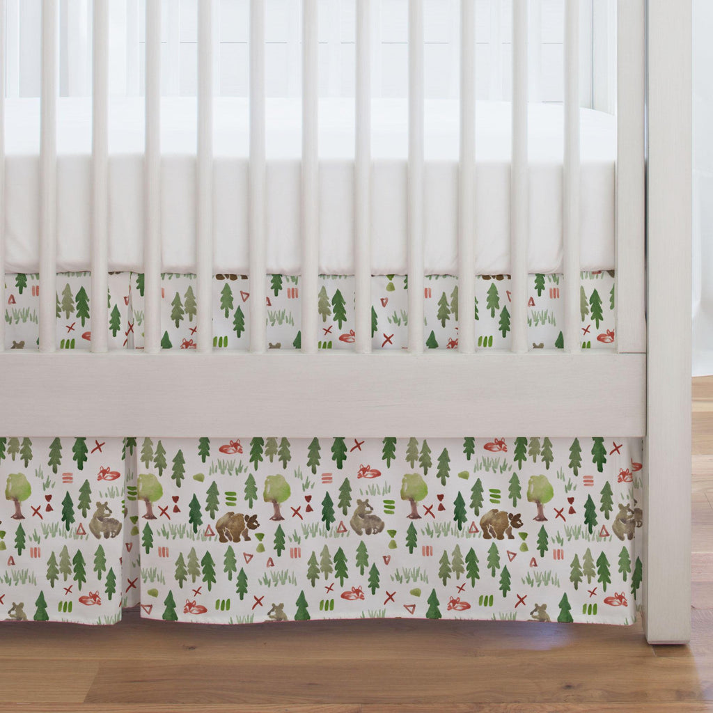 Product image for Watercolor Forest Crib Skirt Single-Pleat