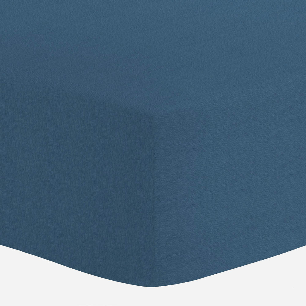 Product image for Solid Denim Blue Crib Sheet
