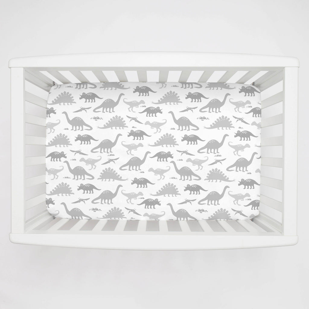 Product image for Gray Dinosaurs Mini Crib Sheet