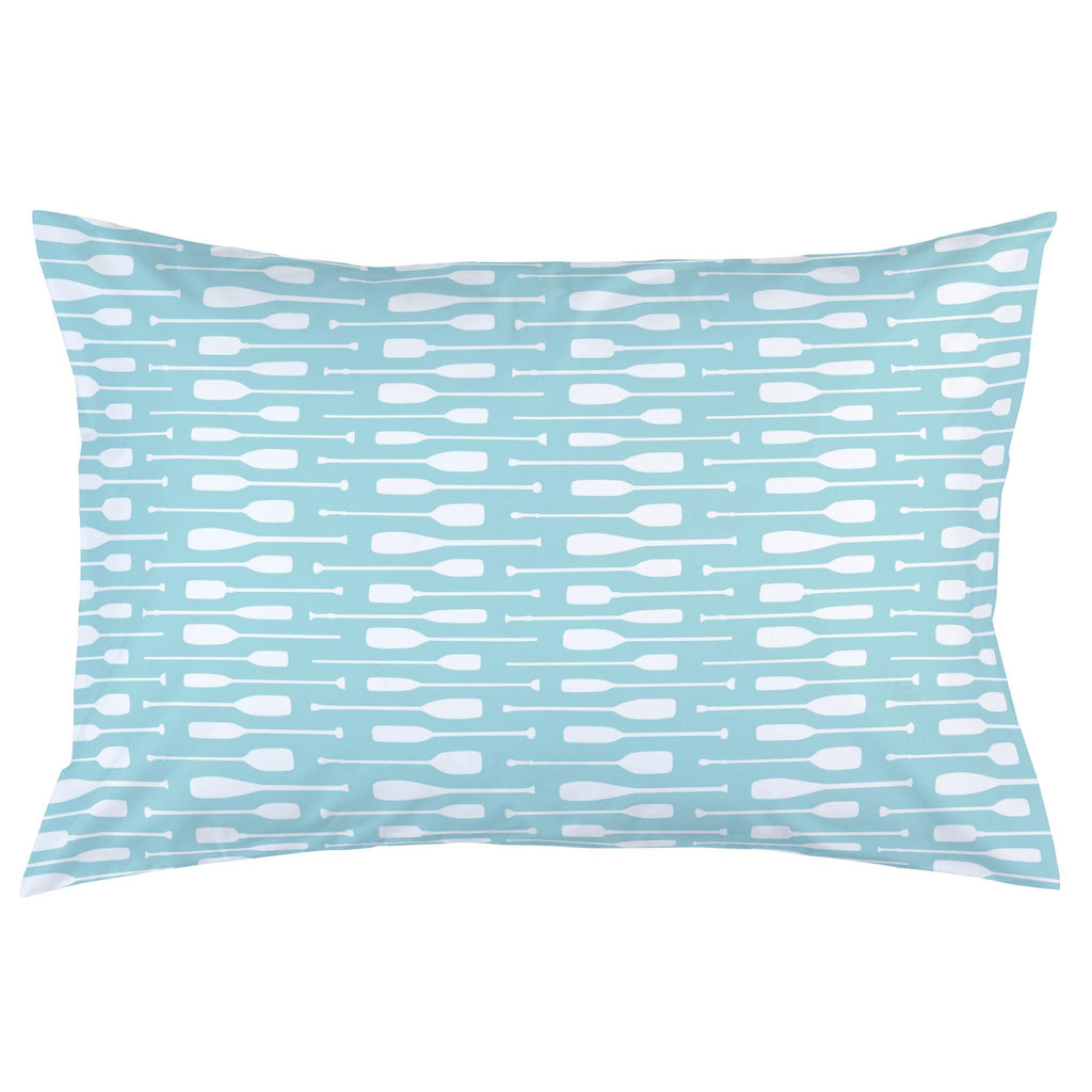 Product image for Seafoam Aqua and White Oars Pillow Case