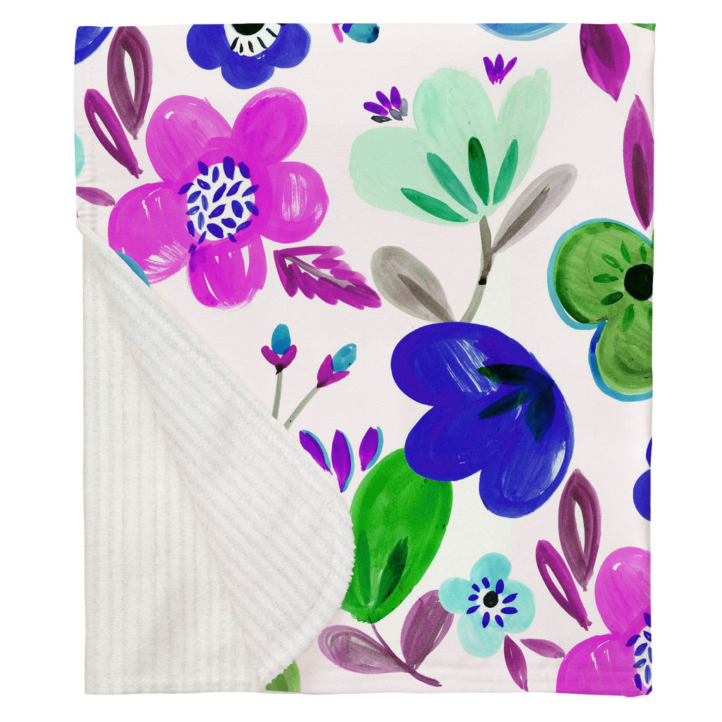 Product image for Purple Painted Flowers Baby Blanket