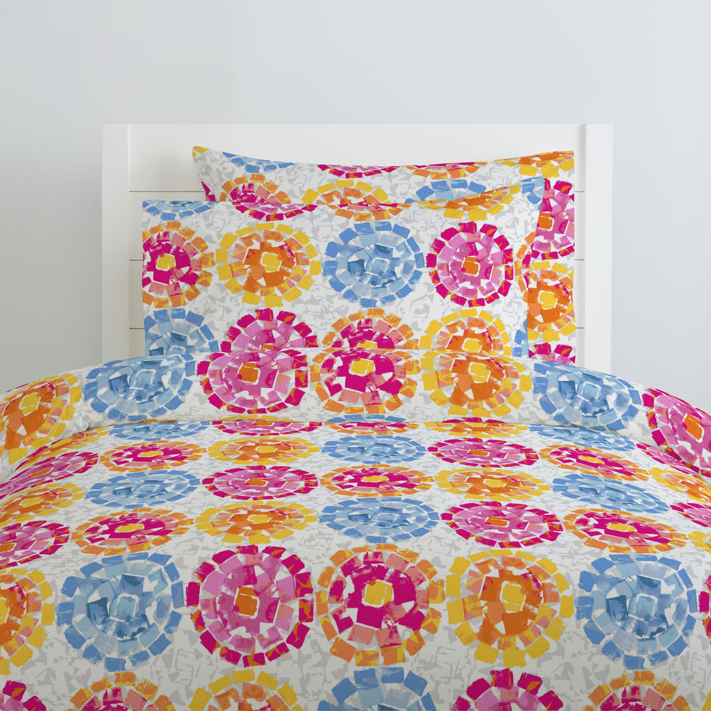 Product image for Pink and Blue Modern Mosaic Duvet Cover