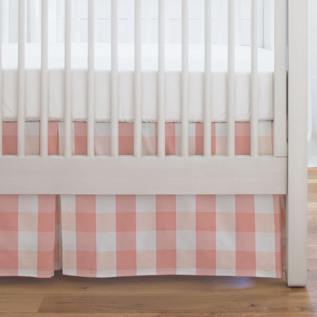 Product image for Light Coral and Peach Buffalo Check Crib Skirt Single-Pleat