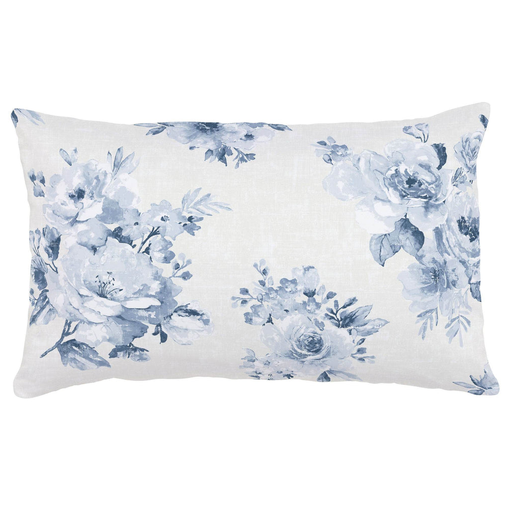 Product image for Blue Farmhouse Floral Lumbar Pillow