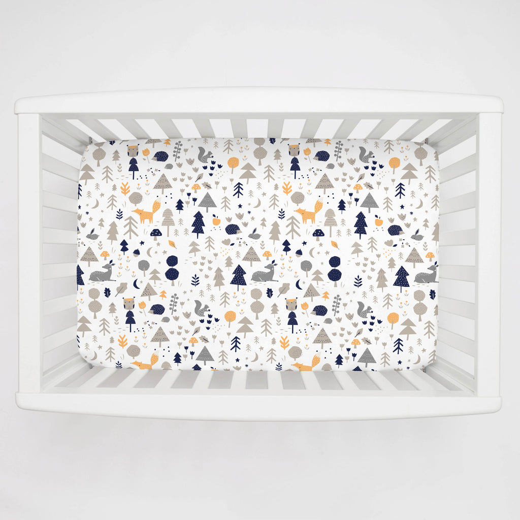 Product image for Taupe and Windsor Navy Baby Woodland Mini Crib Sheet