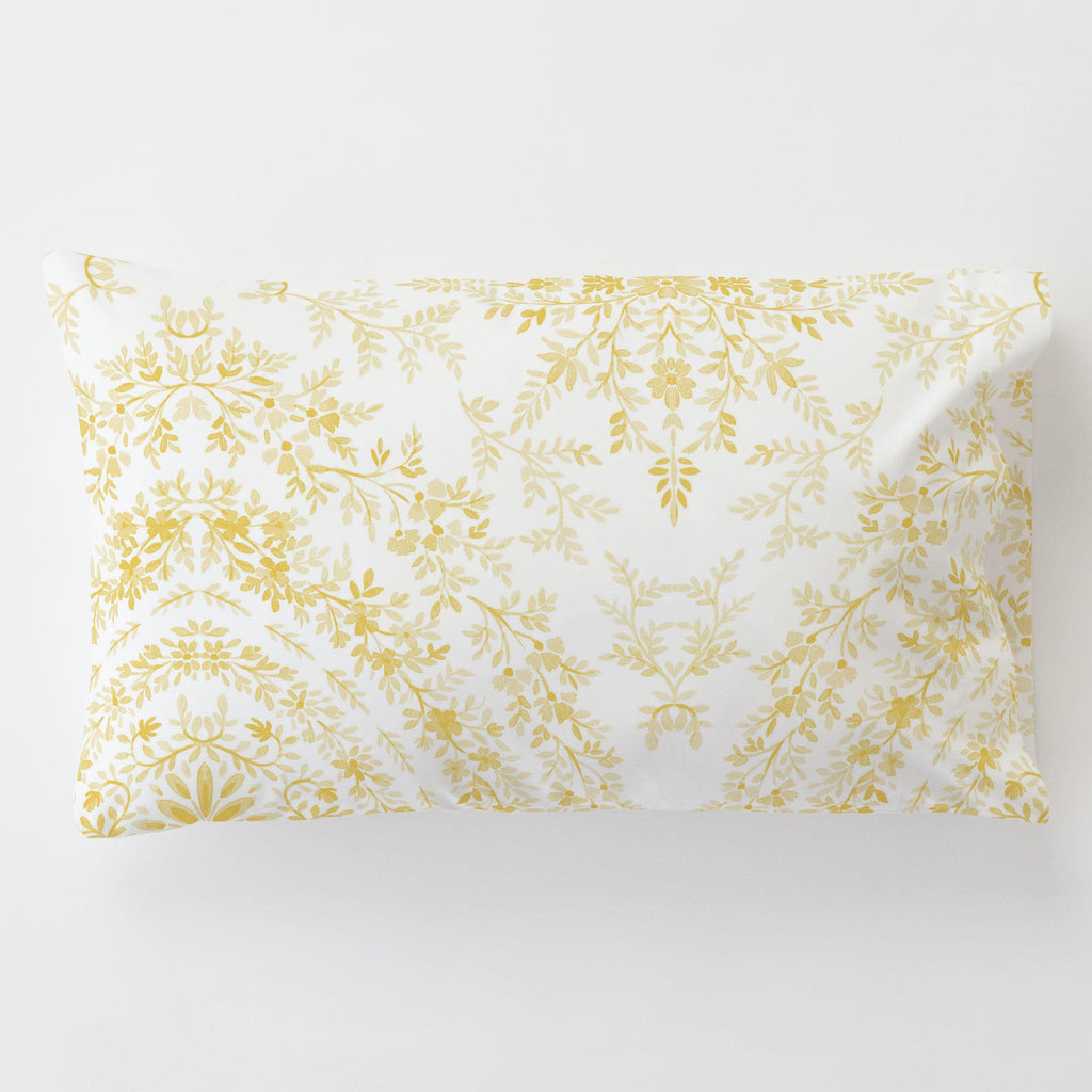 Product image for Yellow Floral Damask Toddler Pillow Case with Pillow Insert