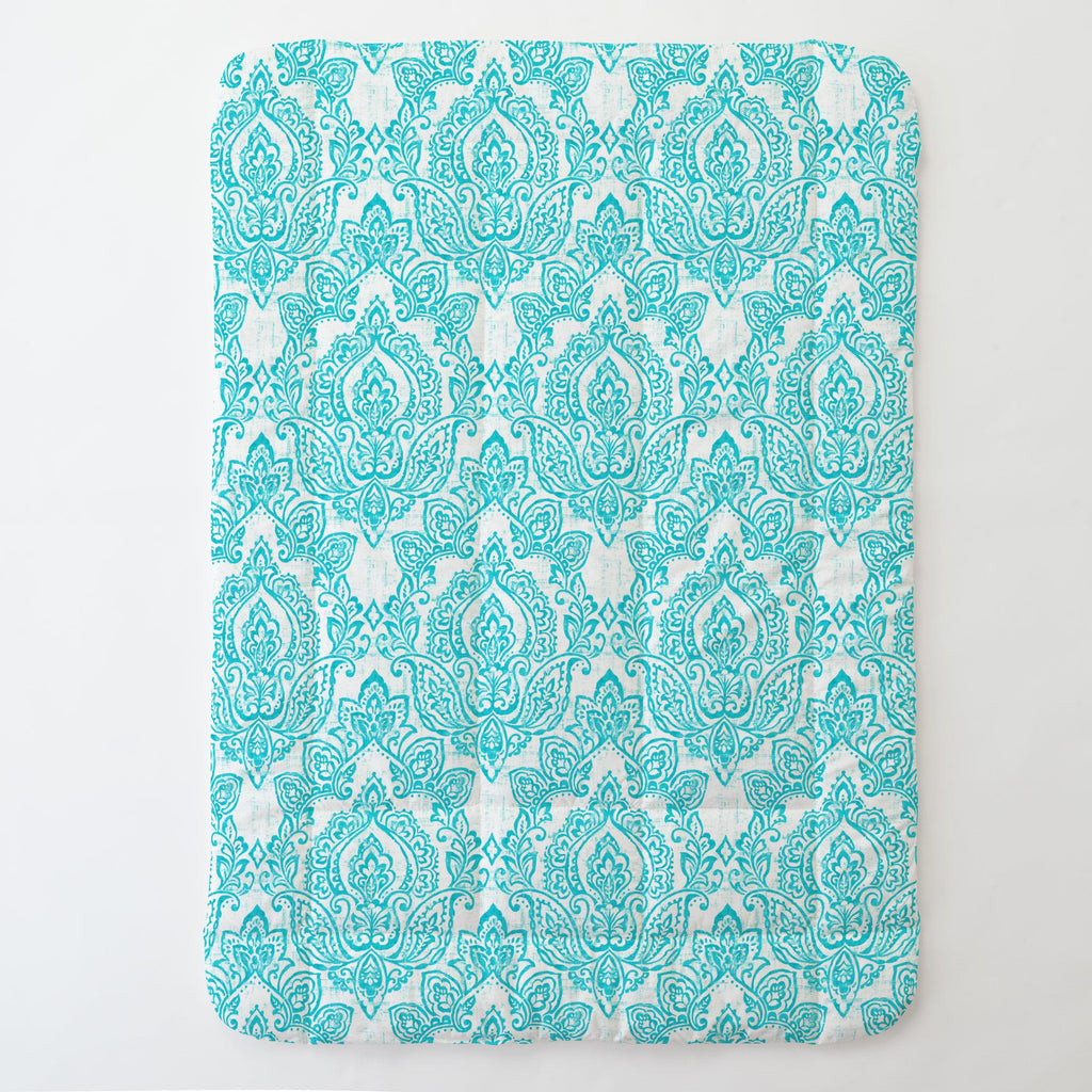 Product image for White and Teal Vintage Damask Toddler Comforter