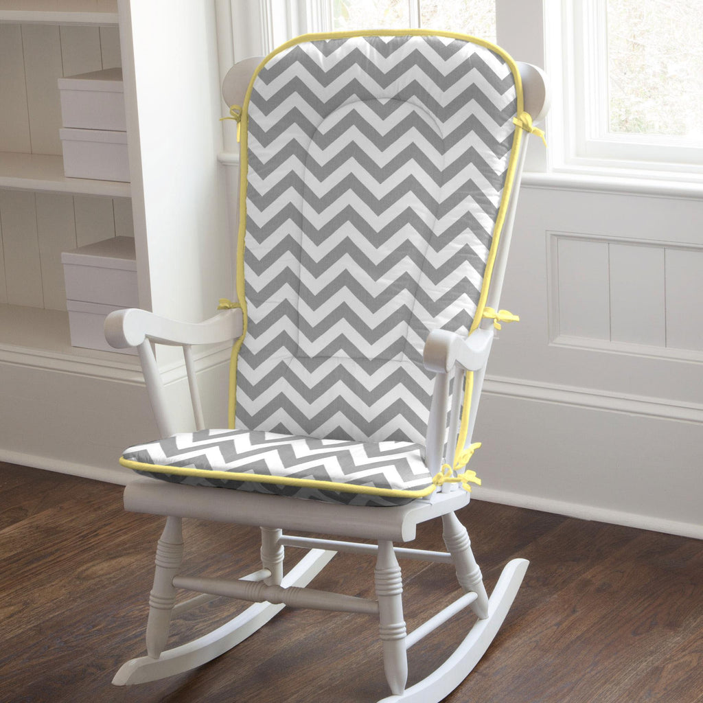 Product image for White and Gray Zig Zag Rocking Chair Pad