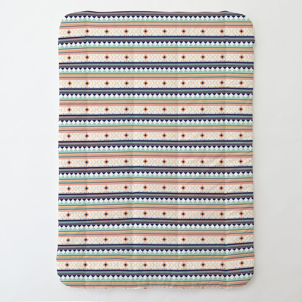 Product image for Navy and Mint Aztec Stripe Toddler Comforter