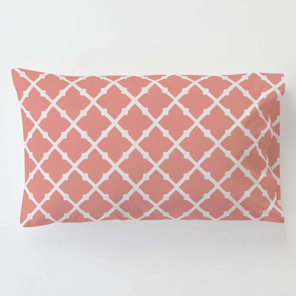 Product image for Light Coral Lattice Toddler Pillow Case with Pillow Insert