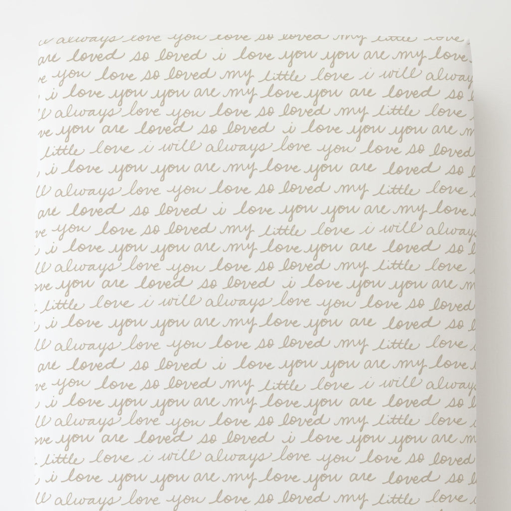 Product image for Taupe Love Words Toddler Sheet Bottom Fitted