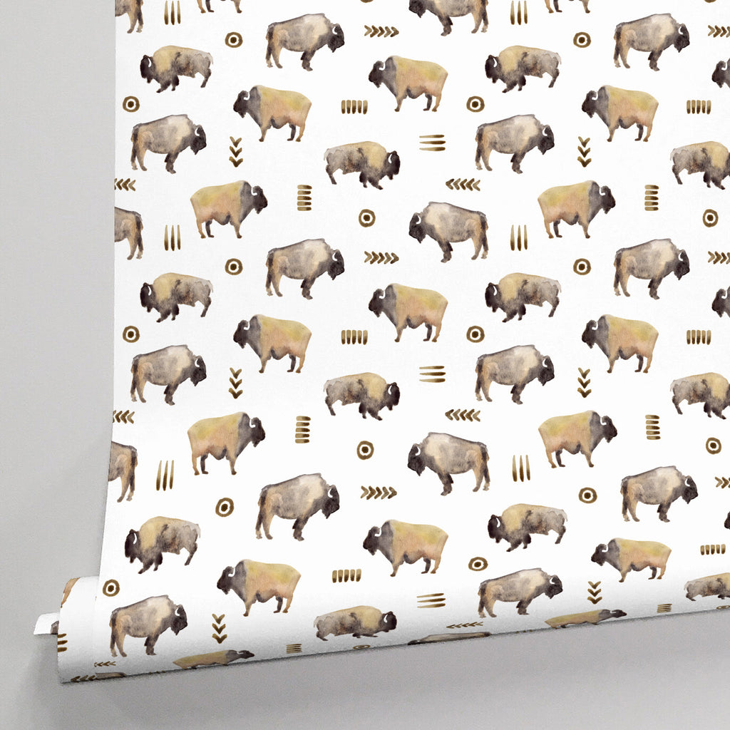 Product image for Watercolor Buffalo Wallpaper Panel