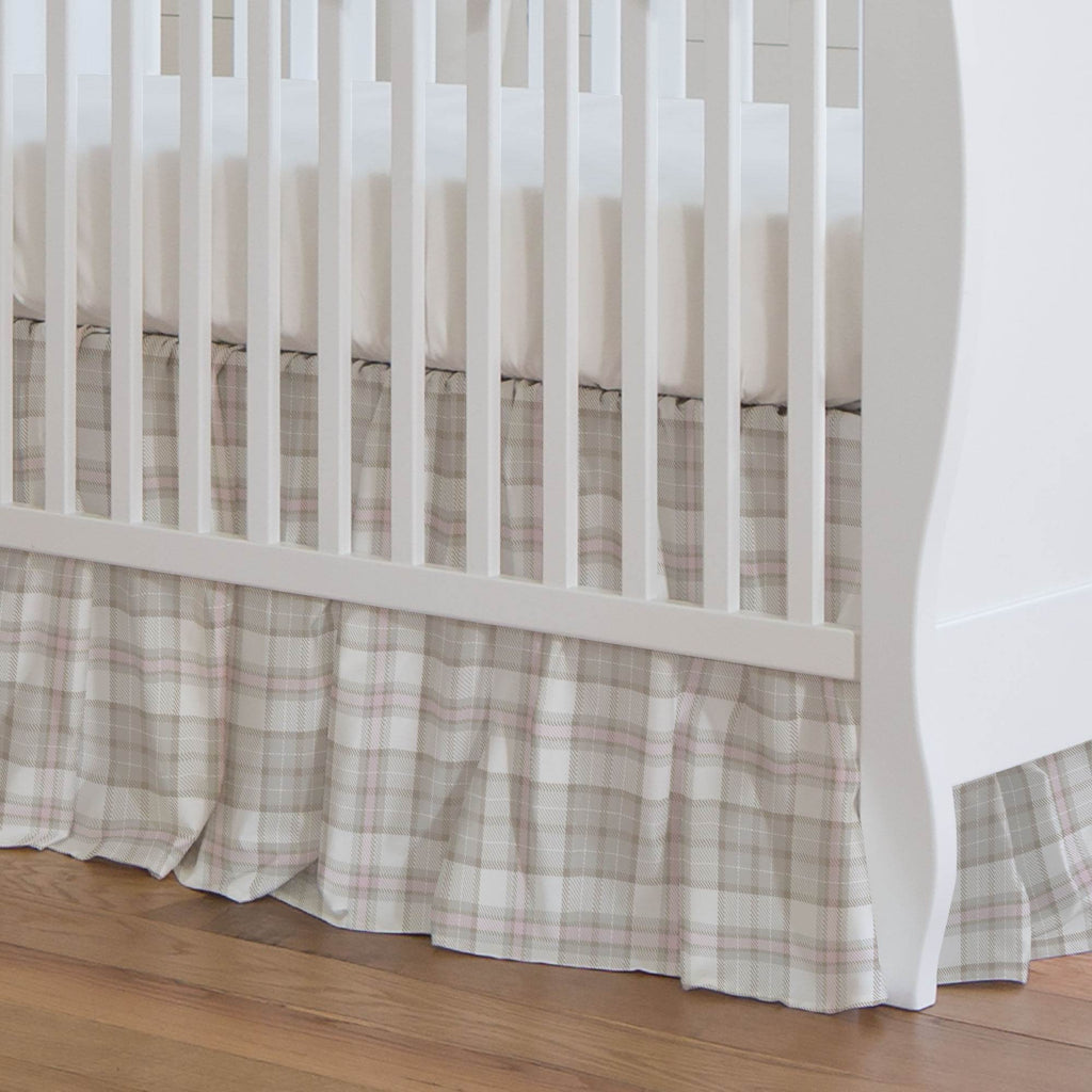 Product image for French Gray and Pink Plaid Crib Skirt Gathered