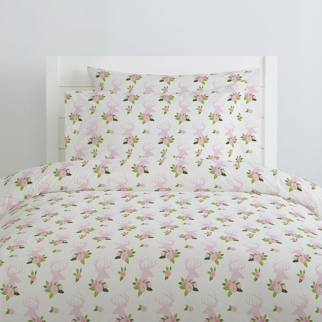 Product image for Pink Floral Deer Head Duvet Cover