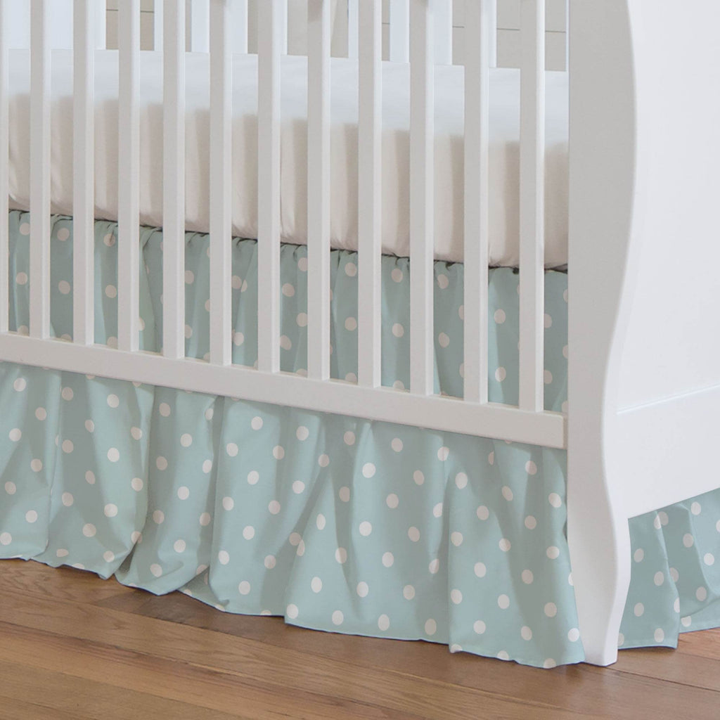 Product image for Mist and White Polka Dot Crib Skirt Gathered