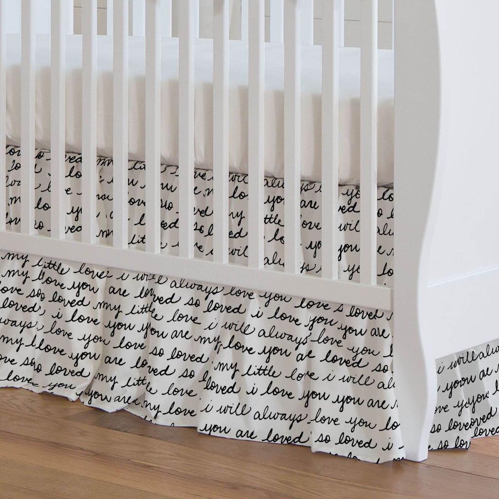 Product image for Onyx Love Words Crib Skirt Gathered