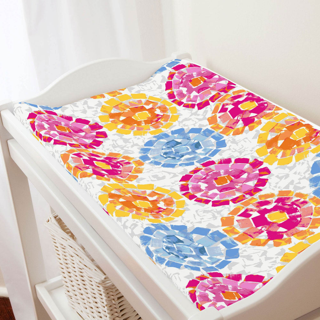 Product image for Pink and Blue Modern Mosaic Changing Pad Cover