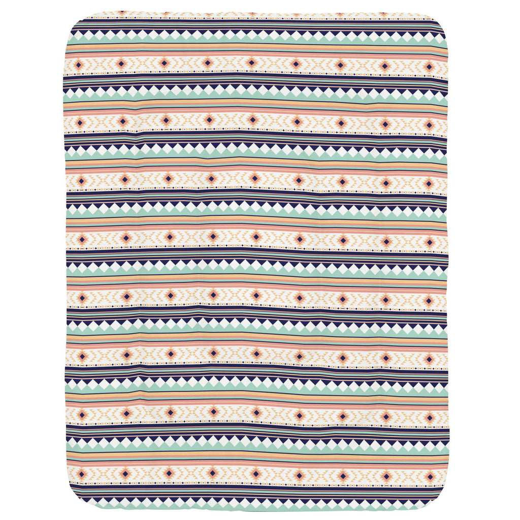 Product image for Navy and Mint Aztec Stripe Crib Comforter