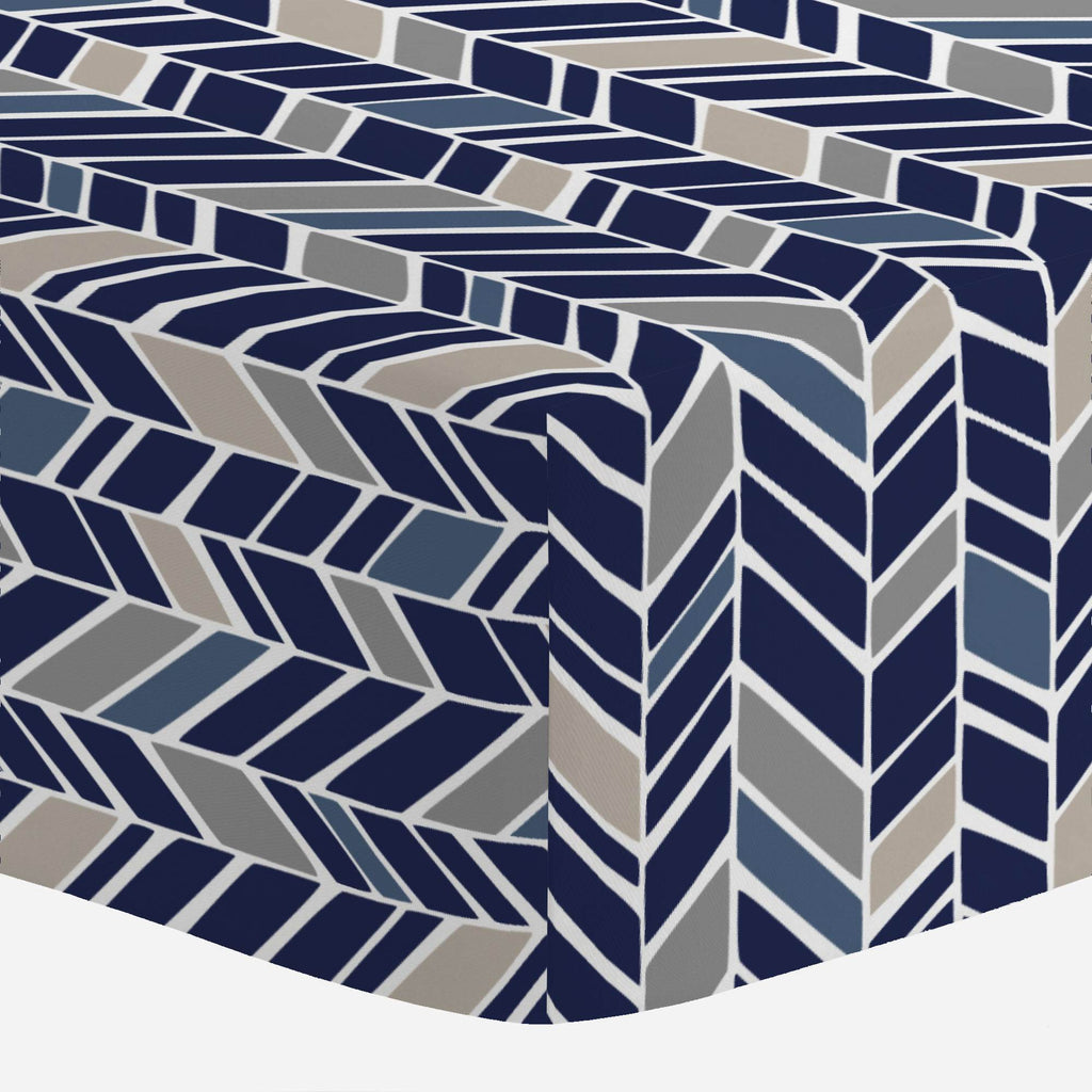 Product image for Taupe and Windsor Navy Herringbone Crib Sheet