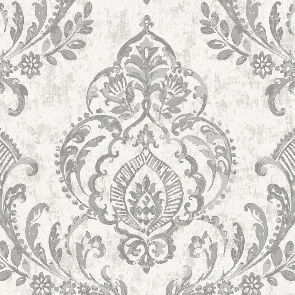 Product image for Gray Painted Damask Fabric