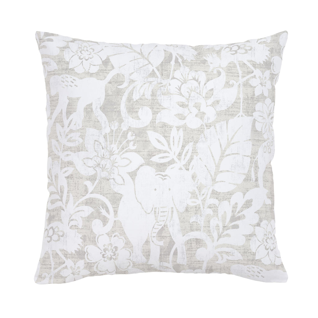 Product image for French Gray and White Jungle Throw Pillow