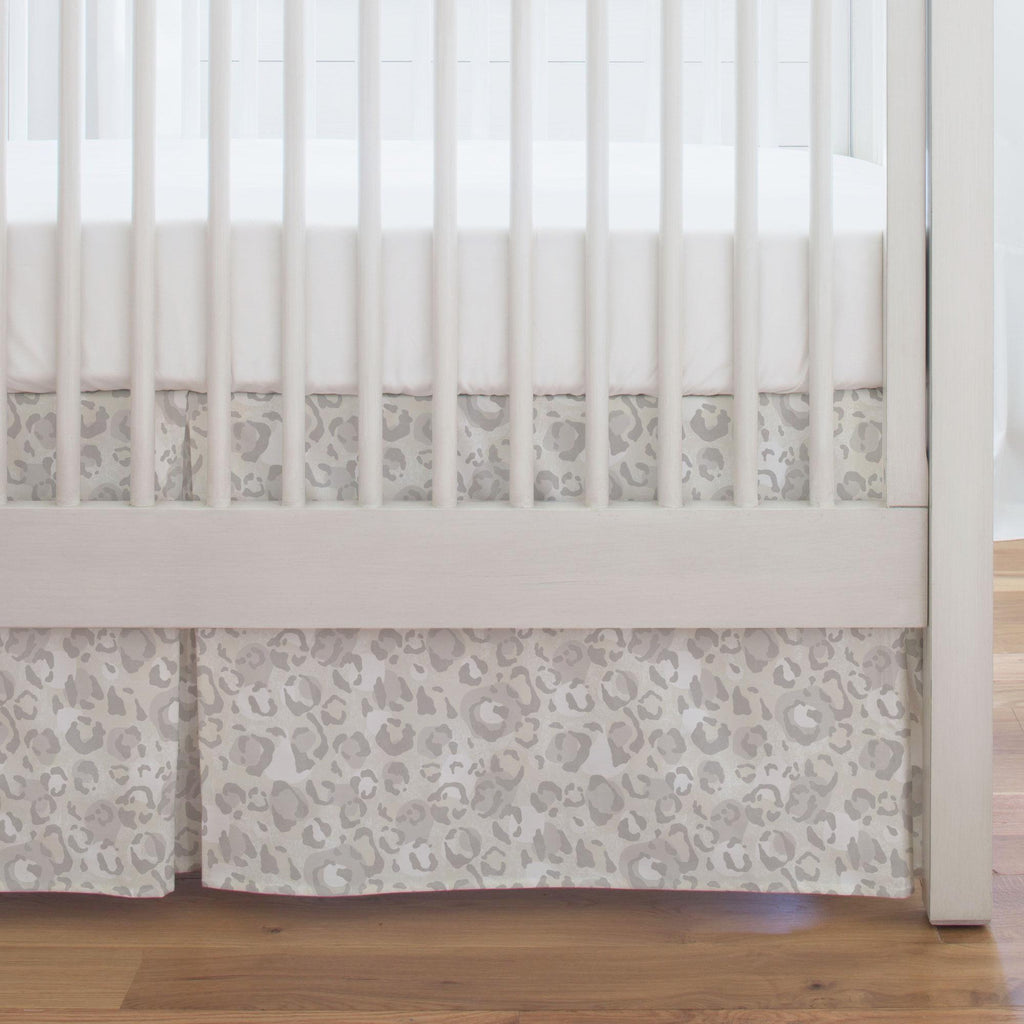 Product image for French Gray Leopard Crib Skirt Single-Pleat
