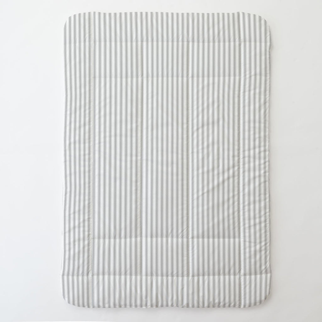 Product image for Cloud Gray Ticking Stripe Toddler Comforter
