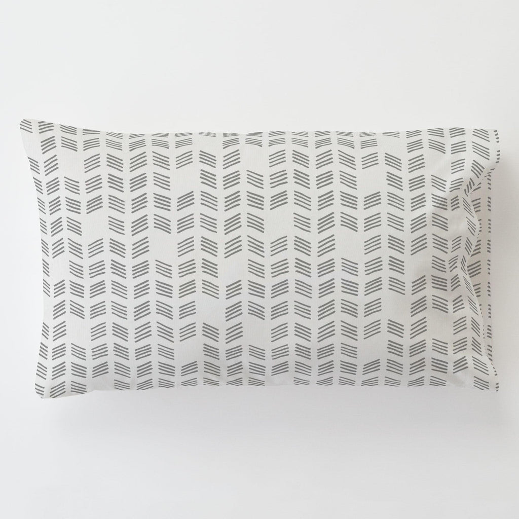 Product image for Silver Gray Tribal Herringbone Toddler Pillow Case with Pillow Insert