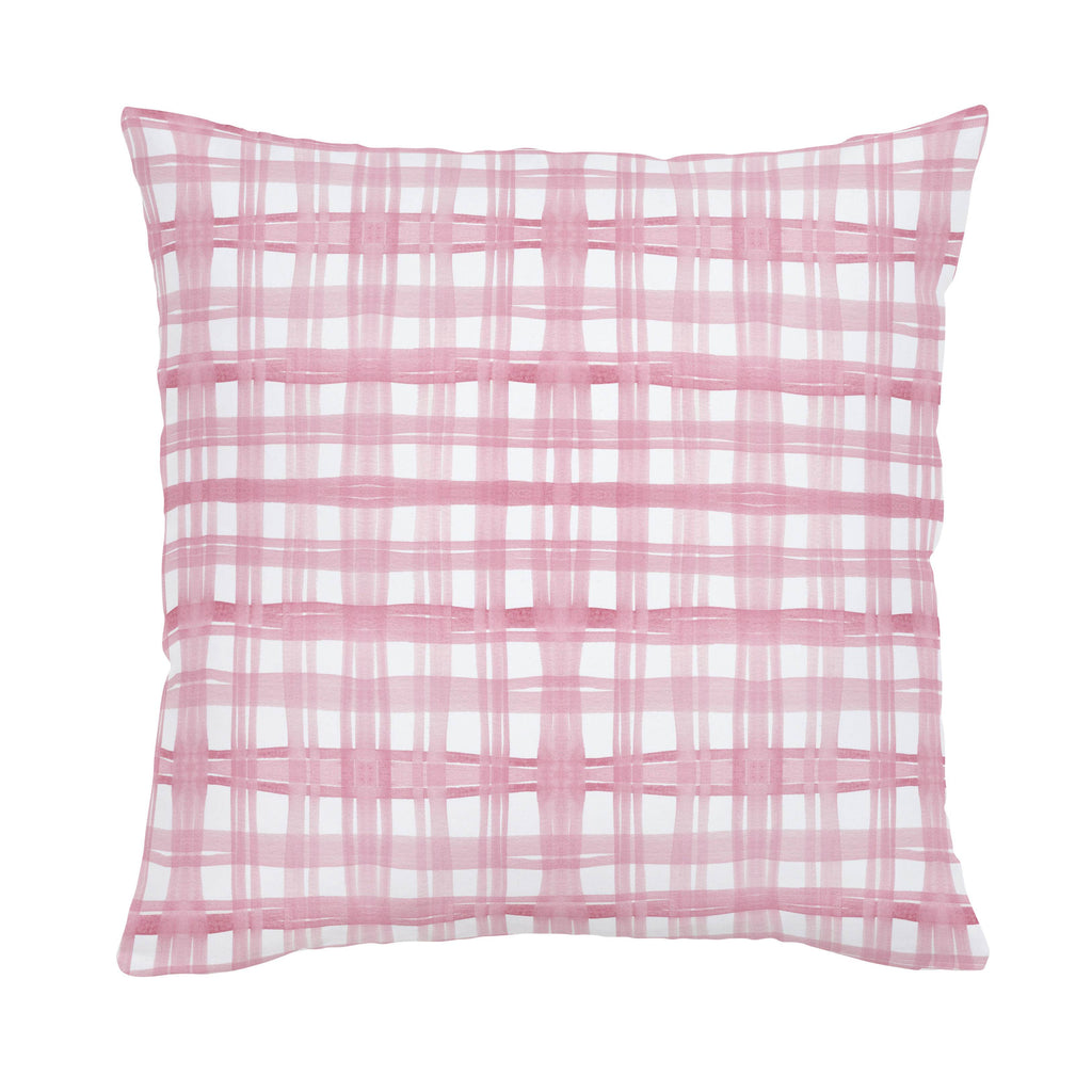 Product image for Pink Watercolor Plaid Throw Pillow