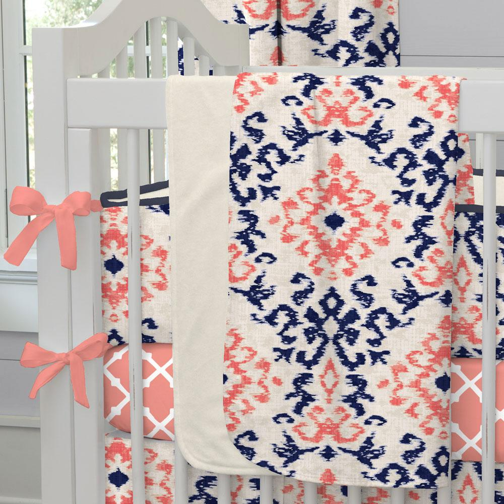 Product image for Navy and Coral Ikat Damask Baby Blanket