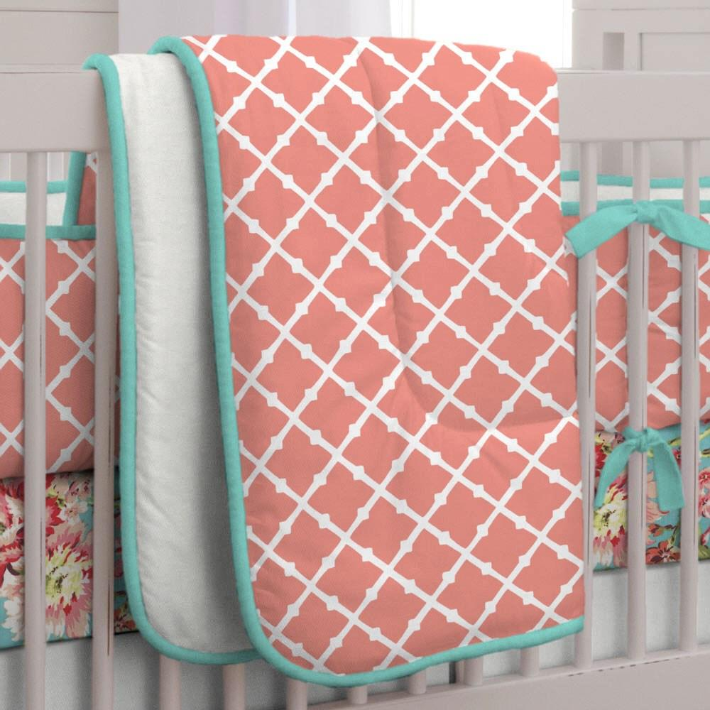 Product image for Light Coral Lattice Crib Comforter with Piping
