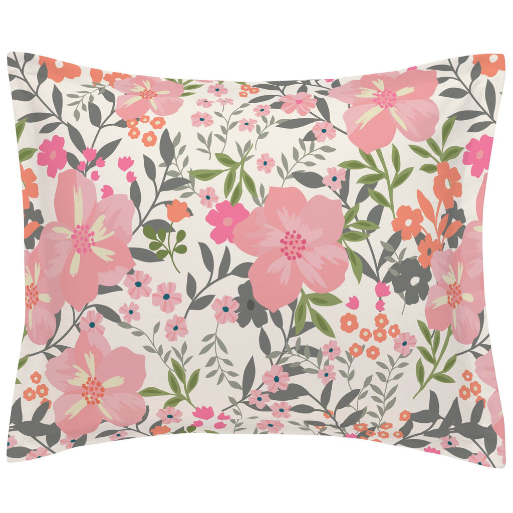 Product image for Pink and Orange Floral Tropic Pillow Sham
